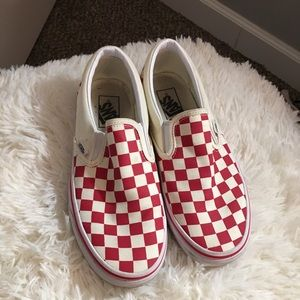 Women's red and white checkered vans